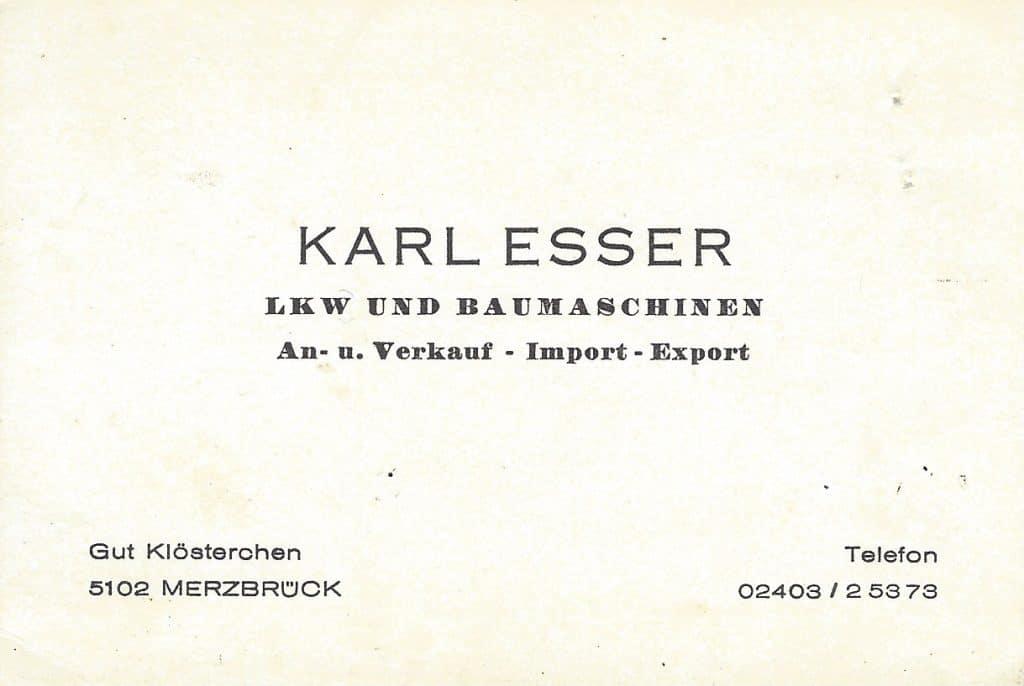 Erste Visitenkarte von Karl Esser Schwertransport aus 1969