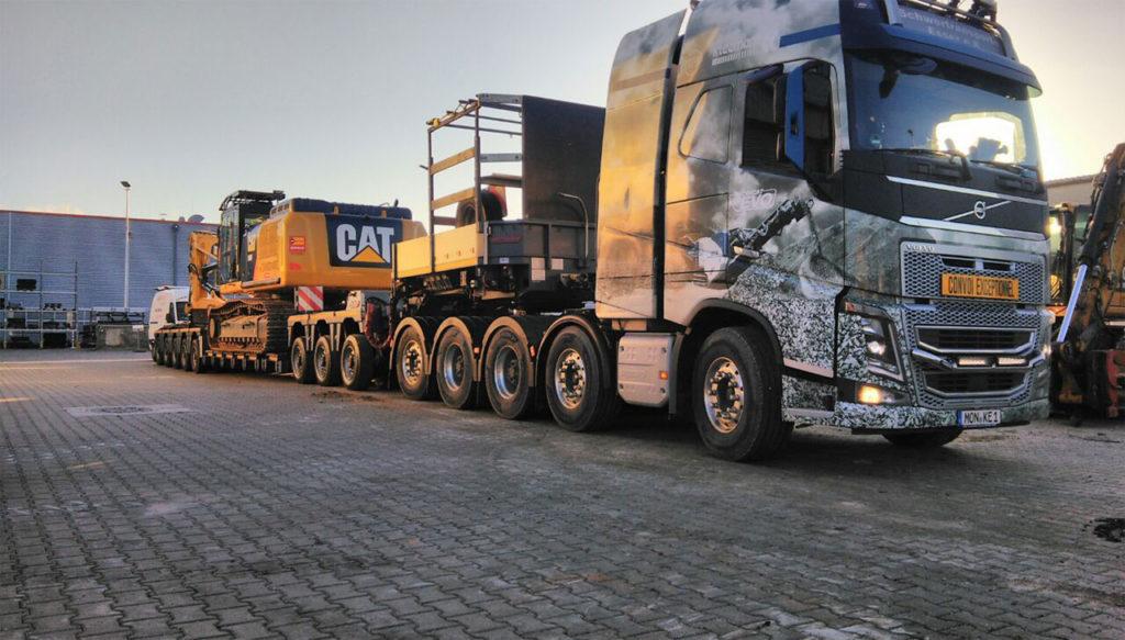 Baggertransport Kettenbagger CAT 340 Heck